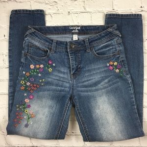 Cat & Jack Girls Embroidered Jeans Sz 14